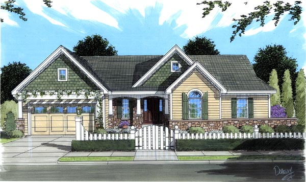 House Plan 50176 | Cottage Traditional Style Plan with 1694 Sq Ft, 3 Bedrooms, 1 Bathrooms, 2 Car Garage Elevation