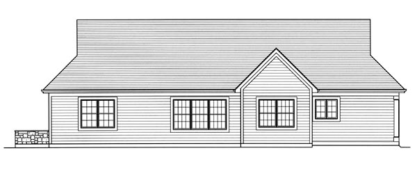 House Plan 50176 | Cottage Traditional Style Plan with 1694 Sq Ft, 3 Bedrooms, 1 Bathrooms, 2 Car Garage Rear Elevation
