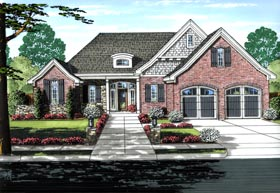 Traditional House Plan 50180 with 3 Beds, 2 Baths, 2 Car Garage Elevation