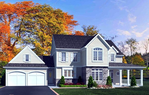 House Plan 50181 | Country, Traditional Style House Plan with 2333 Sq Ft, 4 Bed, 3 Bath, 2 Car Garage Elevation