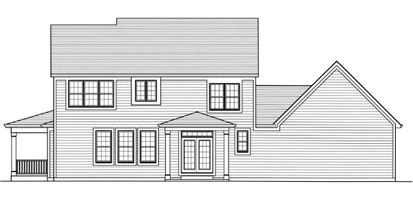 House Plan 50181 | Country, Traditional Style House Plan with 2333 Sq Ft, 4 Bed, 3 Bath, 2 Car Garage Rear Elevation