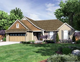 House Plan 50182 | Traditional Style House Plan with 1741 Sq Ft, 3 Bed, 2 Bath, 3 Car Garage Elevation