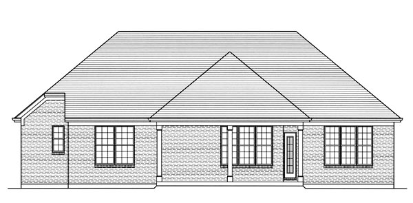 House Plan 50182 | Traditional Style House Plan with 1741 Sq Ft, 3 Bed, 2 Bath, 3 Car Garage Rear Elevation
