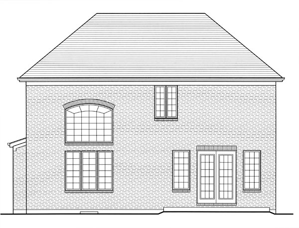 Traditional , Rear Elevation of Plan 50183