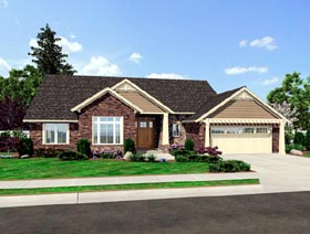 House Plan 50184 | Contemporary, Craftsman Style House Plan with 1791 Sq Ft, 3 Bed, 2 Bath, 2 Car Garage Elevation