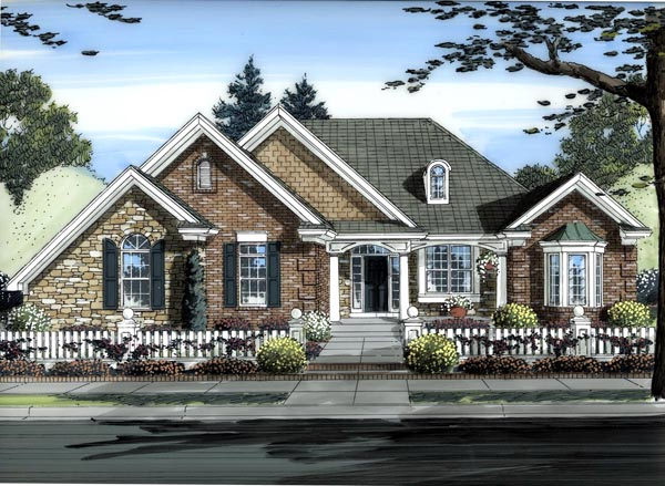 House Plan 50188 | Traditional Style Plan with 2252 Sq Ft, 3 Bedrooms, 2 Bathrooms, 3 Car Garage Elevation