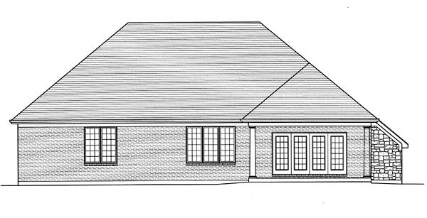 House Plan 50188 | Traditional Style Plan with 2252 Sq Ft, 3 Bedrooms, 2 Bathrooms, 3 Car Garage Rear Elevation
