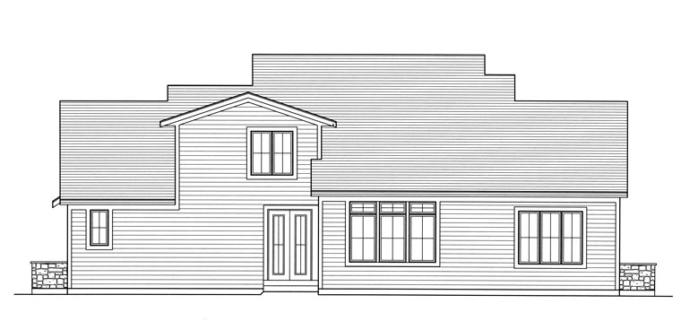 Traditional Rear Elevation of Plan 50189