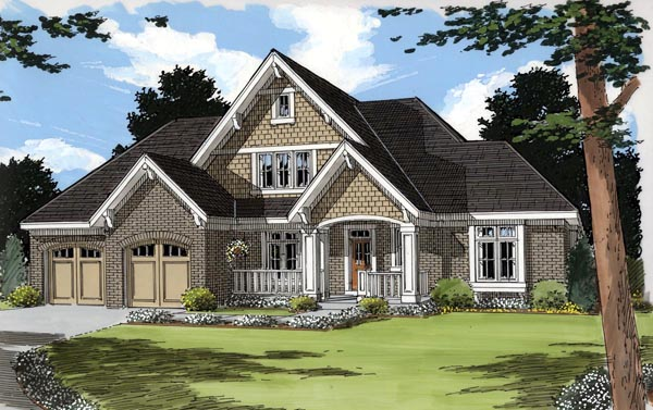 Craftsman House Plan 50190 with 3 Beds, 2 Baths, 2 Car Garage Elevation