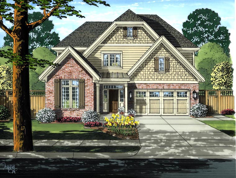 Cottage, Craftsman House Plan 50191 with 4 Beds, 3 Baths, 2 Car Garage Elevation