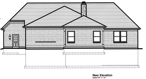 Ranch Traditional House Plan 50196 Rear Elevation