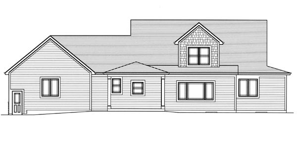 Cape Cod Country Craftsman House Plan 50198 Rear Elevation