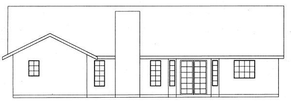 Country , Rear Elevation of Plan 50200