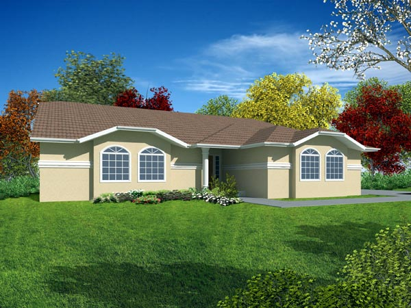 Mediterranean House Plan 50203 with 3 Beds, 2 Baths, 2 Car Garage Elevation