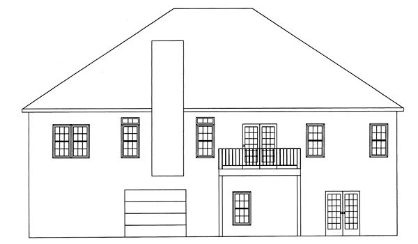 Ranch , Rear Elevation of Plan 50206