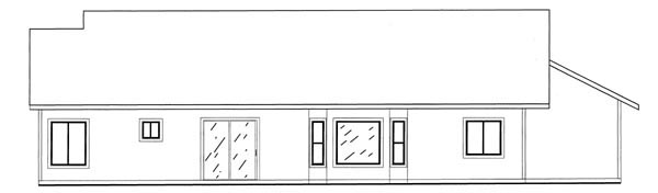 Country , Rear Elevation of Plan 50207