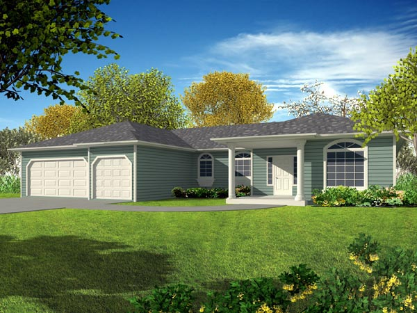 Ranch House Plan 50208 with 4 Beds, 3 Baths, 3 Car Garage Elevation