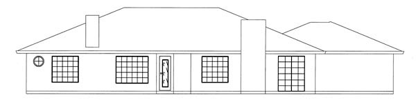 Ranch House Plan 50210 with 3 Beds, 2 Baths, 2 Car Garage Rear Elevation