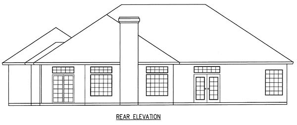 Ranch House Plan 50211 with 3 Beds, 2 Baths, 2 Car Garage Rear Elevation