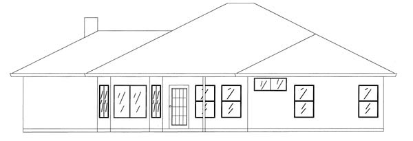 Ranch House Plan 50212 with 3 Beds, 2 Baths, 2 Car Garage Rear Elevation