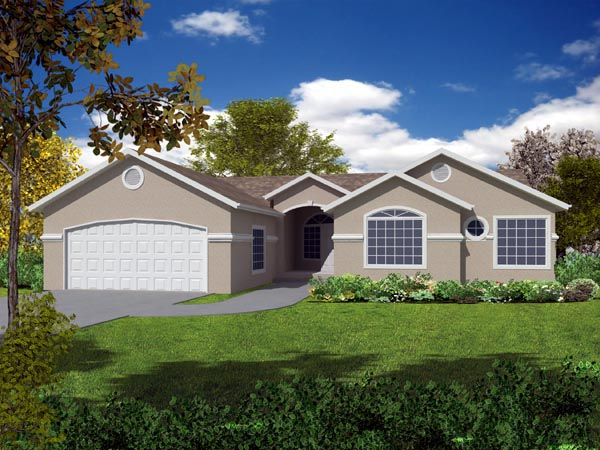 Mediterranean House Plan 50214 with 4 Beds, 2 Baths, 2 Car Garage Elevation