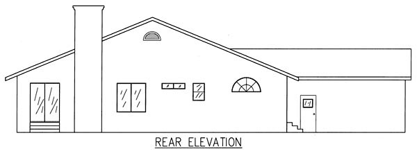 Ranch House Plan 50215 with 3 Beds, 2 Baths, 2 Car Garage Rear Elevation