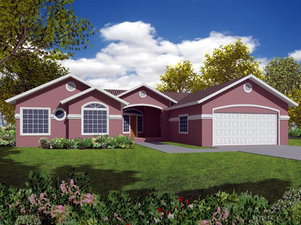 Mediterranean House Plan 50216 with 4 Beds, 2 Baths, 2 Car Garage Elevation