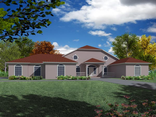 Mediterranean House Plan 50217 with 3 Beds, 3 Baths, 3 Car Garage Elevation