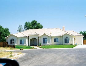 House Plan 50224   Mediterranean Style Plan with 2299 Sq Ft, 3 Bedrooms, 2 Bathrooms, 2 Car Garage Elevation