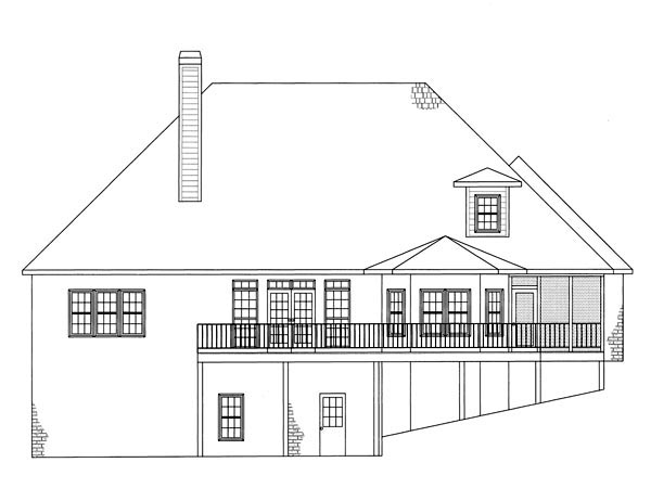 European House Plan 50231 with 3 Beds, 3 Baths, 3 Car Garage Rear Elevation