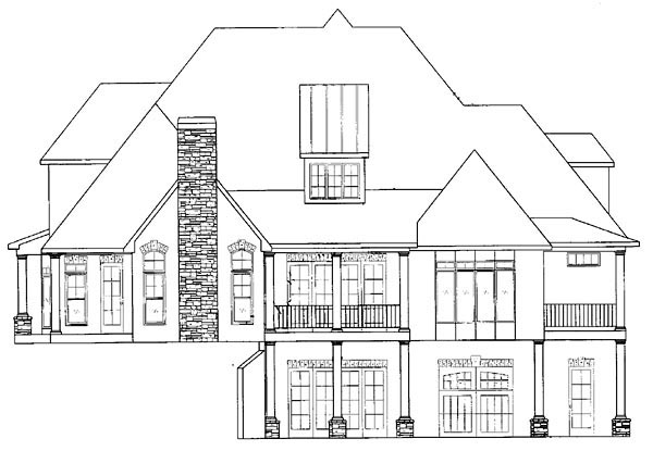 House Plan 50248 | European Traditional Style Plan with 4012 Sq Ft, 4 Bedrooms, 5 Bathrooms, 2 Car Garage Rear Elevation