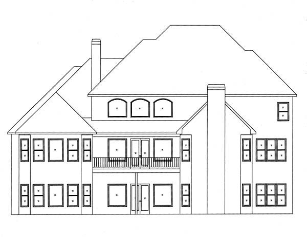 European House Plan 50250 Rear Elevation