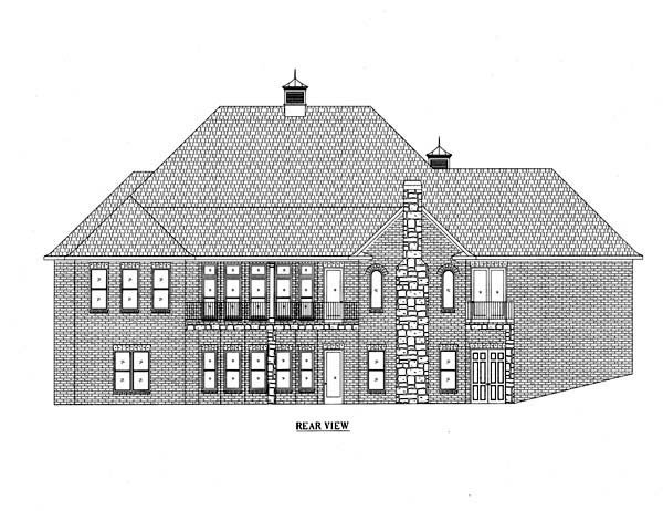 European House Plan 50253 with 4 Beds, 4 Baths, 3 Car Garage Rear Elevation
