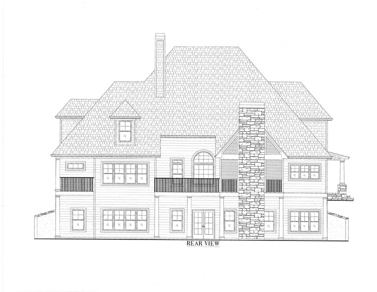 European , Southern , Traditional House Plan 50254 with 4 Beds, 4 Baths, 2 Car Garage Rear Elevation
