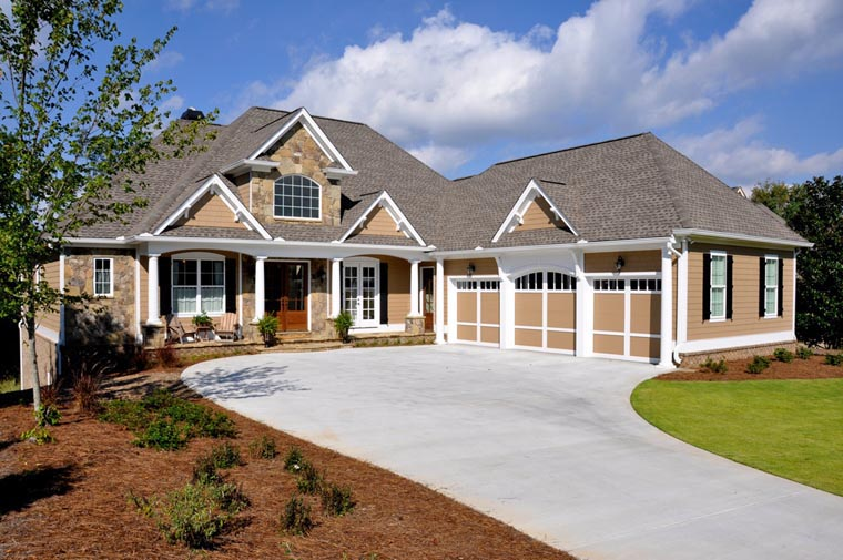 House Plan 50260 | Craftsman Style Plan with 3807 Sq Ft, 4 Bedrooms, 4 Bathrooms, 3 Car Garage Elevation