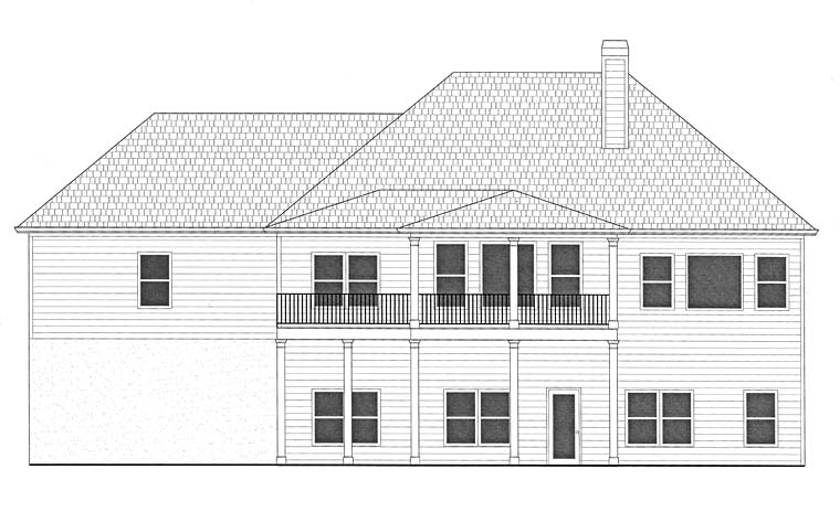 House Plan 50265 | Southern Traditional Style Plan with 2303 Sq Ft, 3 Bedrooms, 3 Bathrooms, 2 Car Garage Rear Elevation