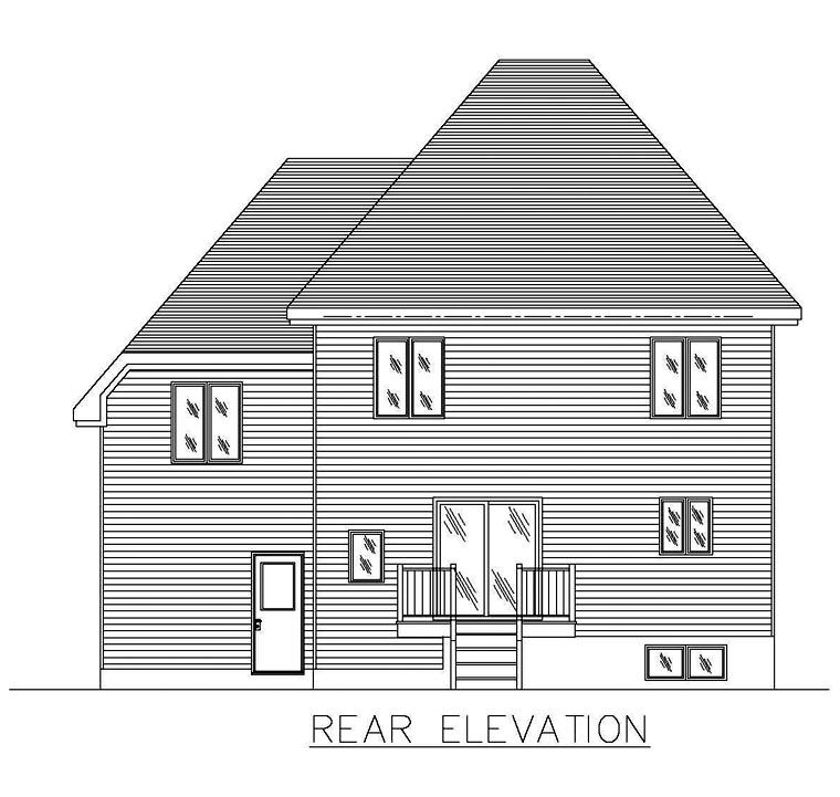 European House Plan 50301 Rear Elevation