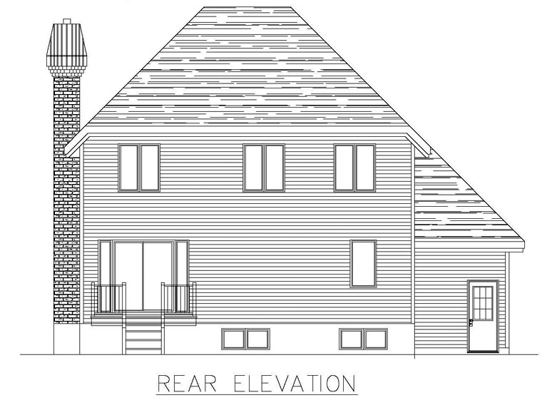 European House Plan 50310 Rear Elevation