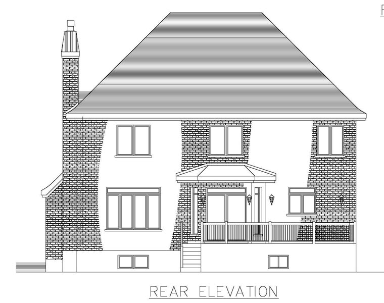House Plan 50318 | Style Plan with 2968 Sq Ft, 4 Bedrooms, 4 Bathrooms, 2 Car Garage Rear Elevation