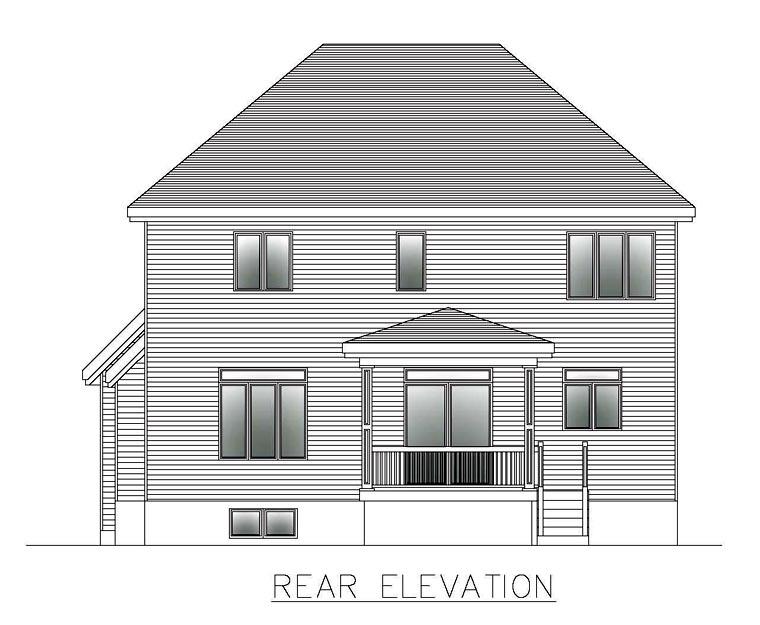 European House Plan 50319 Rear Elevation