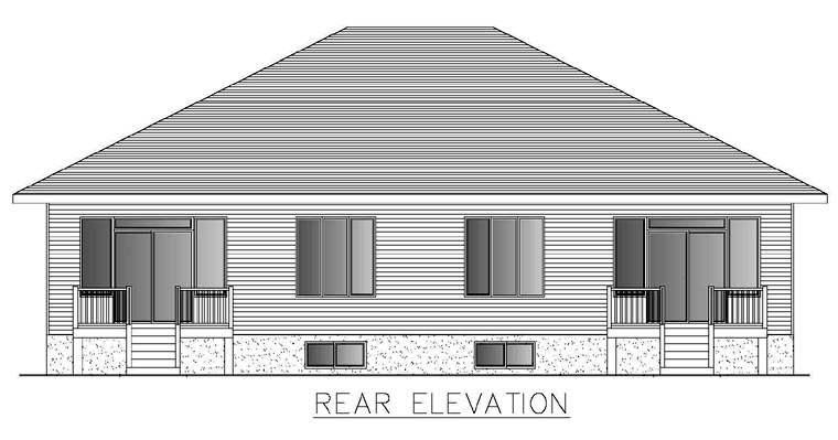 Contemporary Multi-Family Plan 50321 with 4 Beds , 2 Baths , 2 Car Garage Rear Elevation