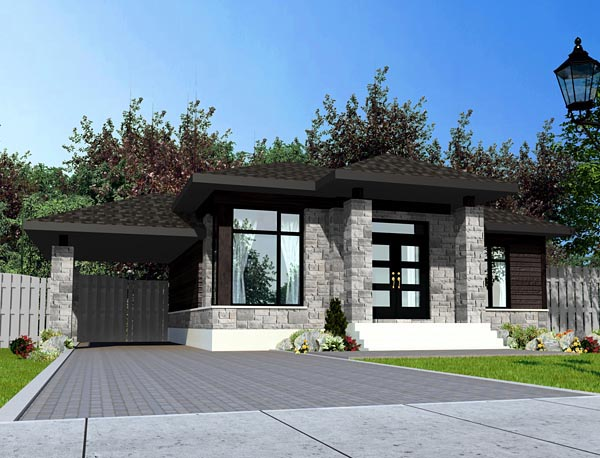 House plan 50334 at for Style de maison moderne