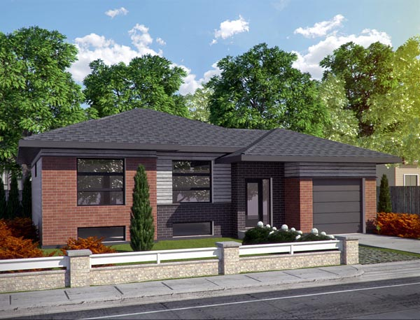 Contemporary House Plan 50339 with 2 Beds, 2 Baths, 1 Car Garage Elevation