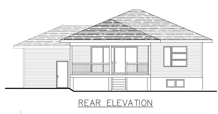 Contemporary House Plan 50339 with 2 Beds, 2 Baths, 1 Car Garage Rear Elevation