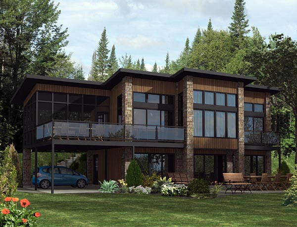Contemporary House Plan 50344 with 3 Beds, 2 Baths, 2 Car Garage Front Elevation