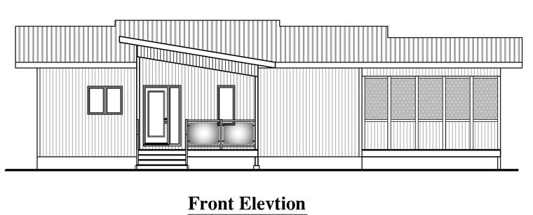 Contemporary House Plan 50344 with 3 Beds, 2 Baths, 2 Car Garage Rear Elevation
