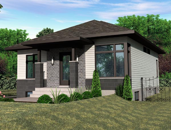 Contemporary House Plan 50358 with 2 Beds, 1 Baths Elevation