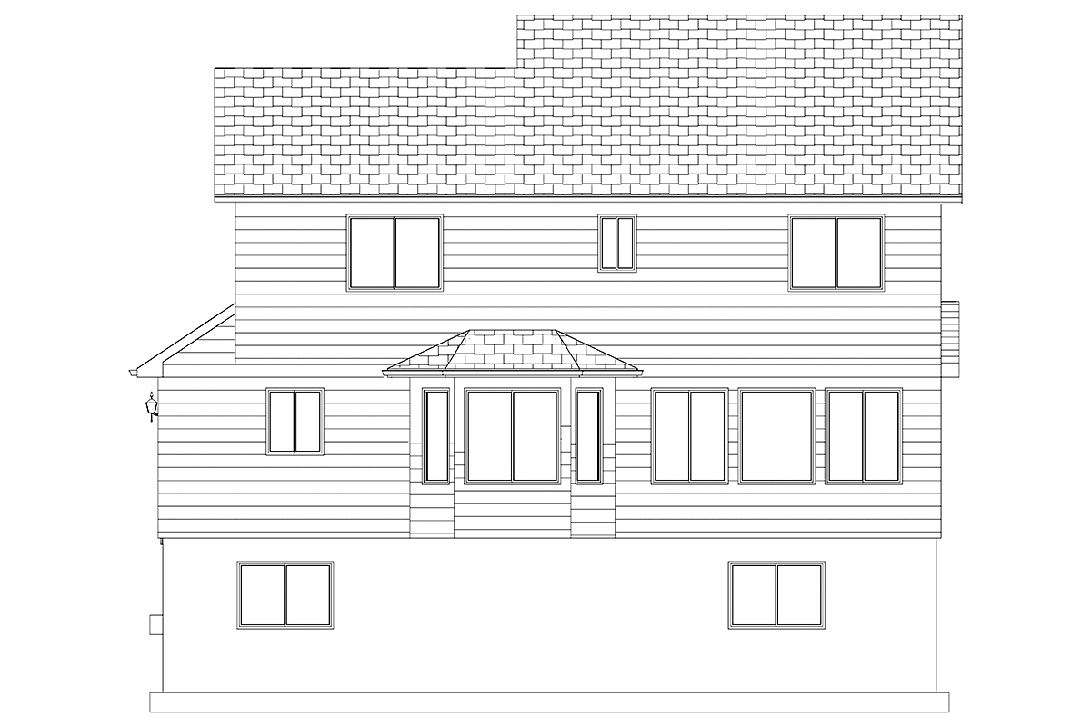House Plan 50401 with 6 Beds, 4 Baths, 2 Car Garage Rear Elevation