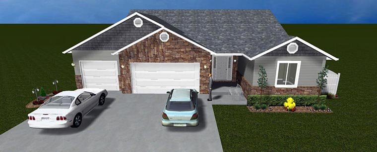 House Plan 50445 with 5 Beds, 4 Baths, 3 Car Garage Elevation