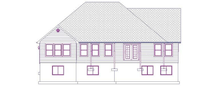 House Plan 50490 with 5 Beds, 4 Baths, 2 Car Garage Rear Elevation